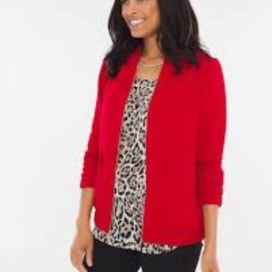 Chico's Carmine Red Clean Crepe Bomber Jacket XL